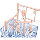 QBLEEV Bird Cage Play Stand Toy Set-Birdcage Wood Stands Hanging Chew Toys Ladder Swing Parrot Perch Play Gym Playground Acce