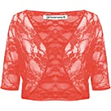 Janisramone Womens Ladies New Floral Lace See Through 3/4 Sleeve Bolero Cardigan Cropped Shrug Top