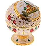 IPOTCH Delicate Embossment Globe Shape Jewelry Box Jar Retro Metal Windproof Ashtray, Fancy Gifts,Two Style(Rose/Castle),Mult