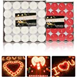 peinat Tea Lights Candles, 50PCS White Tealights Candle + 50PCS Red Tea Candles Burning 1.5 Hours Romantic Small Scented Cand