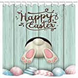 NYMB Cartoon Shower Curtain, Funny Rabbit Wooden Boart Easter Egg Pysanka Osterei, Mildew Resistant Polyester Fabric, Bathroo