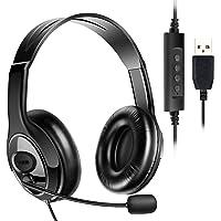ヘッドセット USB式 両耳 マイク付き 120度回転 高音質 ヘッドフォン ヘッドバンド調整 音量調節 ノイズキャンセ…