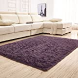 gdmgdr Ultra Soft and Fluffy Nursery Rugs 4cm High Pile Area Rugs for Bedroom and Living Room 4' x 5.3', Gray Purple