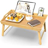 Wisuce Bed Tray with Folding Legs, Bamboo Bed Table Breakfast Serving Tray with Phone Holder for Eating and Laptops (Natural)
