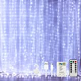 SOARRUCY CHMANIR 300 Led Curtain String Lights, 9.84x9.84ft, Fairy Lights Curtain Battery Operated or USB Plug in, Window Cur