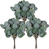 Winlyn 18 Pcs Artificial Eucalyptus Leaves Greenery Stems Faux Grey Green Eucalyptus Plant Branches Bulk Faux Silver Dollar E