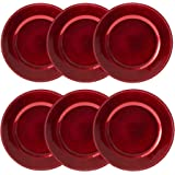 Round Beaded Decorative Charger Plates, 13 Inches Round, Set of 6, for Dining Table or Décor (Red)