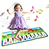 ALANGDUO Kids Musical Mats, Music Piano Keyboard Dance Floor Mat Animal Carpet Blanket Touch Playmat Early Education Toys for