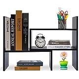 Wooden-Life Wood Adjustable Desktop Storage Organizer Display Shelf Rack, Office Supplies Desk Organizer,Black