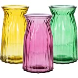 """Royal Imports Flower Vase, Colored Rose Bunch Glass Urn Decorative Centerpiece for Home or Wedding , 8"""" Tall, 4.5"""" Opening, S"""