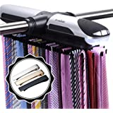 Primode Motorized Tie Rack Closet Organizer with LED Lights, Bonus Stainless Steel Tie Clip Set, Includes J Hooks for Wired S