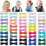 "DeD 50PCS 2"" Tiny Baby Girls Hair Bow Solid Color Grosgrain Ribbon Baby Bows Alligator Clips for Girls Infants Toddlers Kids"