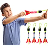 ZAYOR Finger Rockets, Foam Slingshot copters with Light ,Bow and Arrow for Kids Camping Outdoor Beach (4 Pack)