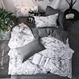 Luxury Bedding Set Duvet Cover Sets, Marbling Grey Comforter Bed, 3pcs Marble King Size Single Queen Full Twin,Linens Cotton|