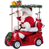 "Kurt Adler C7480 11.25"" Fabriche Santa Driving Golf Cart"
