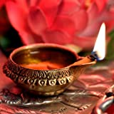 Hashcart Handmade (Set of 4) Indian Puja Brass Oil Lamp - Golden Diya Lamp Engraved Design Dia - 2.5 Inch