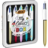 BIC My 4 Colours Pen Fashion Stationery Gift Box - 5 Retractable Multi Color Ball Pens Medium Point (1.0 mm)