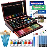 186 Piece Deluxe Art Set, Shuttle Art Art Supplies in Wooden Case, Painting Drawing Art Kit with Acrylic Paint Pencils Oil Pa