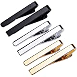 Viaky Classic Style Men's Tie Clips, Neck Ties Necktie Bar Pinch Clip with Gold Silver Black 3 Tone, Best Gifts for Your Fath