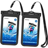 MoKo Waterproof Phone Pouch [2 Pack], Underwater Cellphone Case Dry Bag with Lanyard Armband Compatible with iPhone 12/12 Min