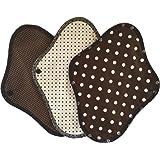 すぃーとこっとん 布ナプキン ブラックネル 昼用 一体型 3枚セット 日本製 (チョコ)