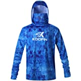 KOOFIN GEAR Performance Fishing Hoodie with Face Mask Hooded Sunblock Shirt Sun Shield Long Sleeve Shirt UPF 50 Dry Fit Quick