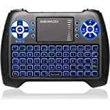 (2019 Latest, Backlit) ANEWISH 2.4GHz Mini Wireless Keyboard with Touchpad Mouse Combo, Rechargable Li-Ion Battery & Multi-Me