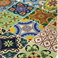 Tile Stickers 24 PC Set Traditional Talavera Tiles Stickers Bathroom & Kitchen Tile Decals Easy to Apply Just Peel & Stick Ho