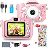 Kids Digital Camera,1080P 2 Inch Children Digital Camera Video Recorder Best Birthday Girls Boys, 32GB TF Card Included(Pink)