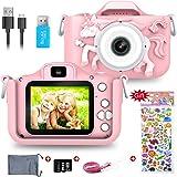 Kids Digital Camera,1080P 2 Inch Children Digital Camera Video Recorder Best Birthday Girls Boys, 32GB TF Card Included(Pink)