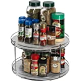 J JACKCUBE DESIGN 2 Tier Lazy Susan Turntable Cabinet Organizer - Rotating Spice Rack Storage Container - Medicine Storage Ho
