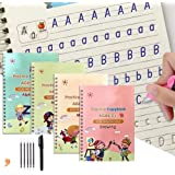 4 Pack Magic Practice Copybook That Can Be Reused,Magic Calligraphy Set for Kids Number Math Drawing Alphabet Handwriting Boo