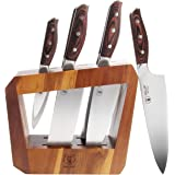 WALLOP Kitchen Knife Set 7-Piece with Wooden Block, German 1.4116 HC Steel and Triple Rivet Pakkawood Handle Professional Sha