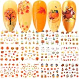 Fall Nail Stickers Halloween Thanksgiving Nail Art Accessories Decals 12 Sheets Maple Leaf Pumpkin Turkey Water Transfer Nail