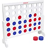 GoSports Giant Wooden 4 in a Row Game - Choose Between Classic White or Dark Stain, and 3 Foot Width - Jumbo 4 Connect Family