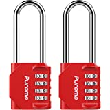 Puroma 2 Pack 2.5 Inch Long Shackle Combination Lock 4 Digit Outdoor Waterproof Padlock for School Gym Locker, Sports Locker,