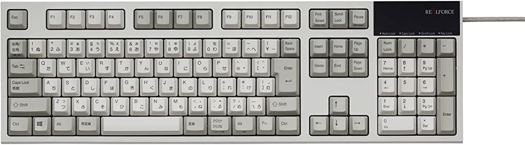 東プレ REALFORCE R2 日本語108配列 静電容量無接点方式 USBキーボード 変荷重 昇華印刷 かな表記あり アイボリー R2-JPV-IV