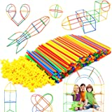 Straw Constructor Interlocking Plastic Enginnering Toys 300 pcs-Colorful Building Toys- Fun- Educational- Safe for Kids- Deve