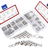 Hilitchi 600-Piece M2 M3 Phillips Pan Head Screws Bolt Nut Lock Flat Washers Assortment Kit 304 stainless steel