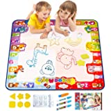 Water Doodle Mat, Kids Large Aqua Coloring Mat, Mess-Free Drawing Mat with Neon Colors, Educational Toy for 2, 3, 4, 5, 6 Yea