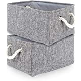 TheWarmHome 2 Pack Grey Fabric Storage Bins for Nursery Storage Canvas Storage Basket15.7×11.8×8.3 inch
