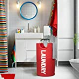 82L Large Laundry Basket Collapsible Fabric Laundry Hamper Tall Foldable Laundry (Red)