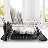 Dish Drying Rack, G-TING 2 Tier Dish Rack with Drainboard, Dish Drainer with Utensil Holder and Cup Holder, Stainless Steel D