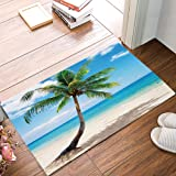 ALAGO Coconut Palm Tree Sandy Beach Hawaii Doormats Entrance Front Door Rug Outdoors/Indoor/Bathroom/Kitchen/Bedroom/Entryway