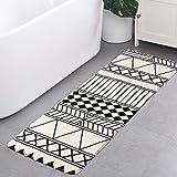 HAOCOO Bath Runner 18x47 inch Modern Geometric Velvet Bathroom Rugs Non-Slip Tribal Style Bath Mat Door Carpet Soft Luxury Mi