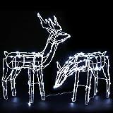 Christmas Light 2 Reindeers Solar Xmas LED Motif Lighting Decoration Jingle Jollys Waterproof Outdoor Lawn Garden Street Meta