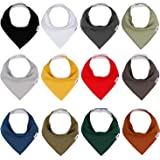 Baby Bandana Drool Bibs for Boys and Girls, Solid Colors, Unisex 12 Pack Baby Bibs Set for Teething and Drooling, Organic Cot
