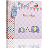 ARPAN Large Baby Girl Pink Memo Slip Album 200 6x4'' Photos-Elephant Kids-Ideal Gift, 23 x 5 x 23 cm