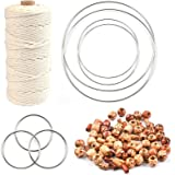 WOWOSS Macrame Starter Kit, Natural Macrame Cotton Cord 3mm x 109 Yards, 7 Pcs Silver Dream Catcher Metal Rings and 300 Pcs P