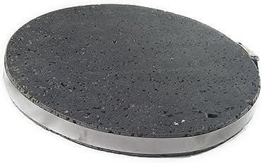 み尋「高耐久丸型溶岩プレート」Φ20×3cm厚 黒玄武製